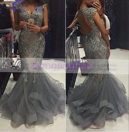 Wholesale Communion Dresses Size 14 - Luxury 2016 Mermaid Evening Dresses Hollow Back V-Neck Tiered Ruffles Formal Prom Gowns For Party Communion Plus Size