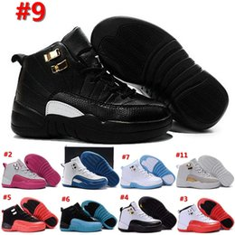 Wholesale Boys Kids Athletic Shoes - 2016 Kids (12)XII Retro Basketball Shoes Athletic Black Pink 16 Colors Sports Shoes for Boys Girls Retros Snakers Shoes With Boxes