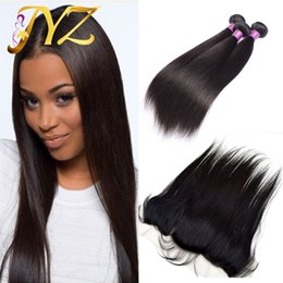 Wholesale indian remy human hair weft - Brazillian Straight Hair Weaves With Full Lace Frontal Closure Free Middle 3 Part 13x4 Lace Frontal With Virgin Human Hair Bundles 4Pcs Lot