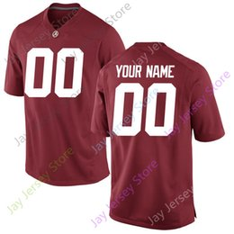 Wholesale Red Any - Custom Blank Alabama Crimson Tide Jersey Home Red Any Name Number All Stitched