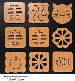 Wholesale Tea Table Mats - 15cm Wooden Coasters Table Pad Cartoon Cup Mug Mat Coffee Tea Holder Home Decor
