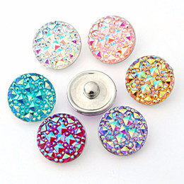 Wholesale Indian Charms - 50pcs lot high quality Seven color Round resin ginger snaps Round glass snaps Bracelets fit 18mm snaps buttons jewelry