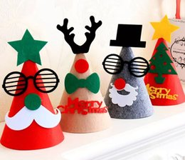 Wholesale Cartoon Hats For Sale - 2017 NEW 25Cm Height Hot Sale Christmas Decoration Santa Clause Hats Santa Hats Gifts For Kids Non Woven Fabrics Decals Kids Hat MYY