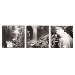 Wholesale Home Decoration Images - Wall Art 3Pcs Black and White Images Waterfall canvas prints Home Decoration living room modular painting Print cuadros