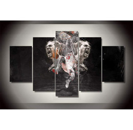 Wholesale Bull Canvas Painting - Joakim Noah Bulls Dunk,5 Pieces Home Decor HD Printed Modern Art Painting on Canvas   Unframed   Framed