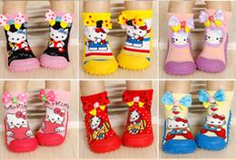 Wholesale Socks Baby Rubber Soled - 2016 5pairs lot rubber soles socks cartoon Kity anti slip baby socks infant socks non slip baby wear kid's socks