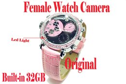 Wholesale Led Dvr Watch - 32GB HD 1080P Hidden Waterproof Watch Video Recorder Camera DVR Female watch camera with led light