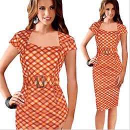 1d58e94947 Pop Nice Fall Cheap Bodycon Dresses Short-Sleeved Plaid Slim Temperament  Elegant Dress with Belt Casual Dresses for Womens