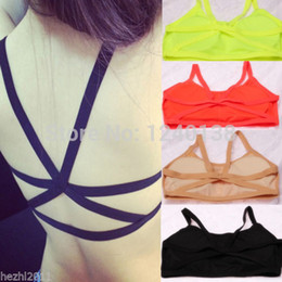Wholesale Tank Lace Straps - Wholesale-2016 fashion New Sexy Women's Padded Bra Tank Tops Bustier Bra Vest Crop Top Bralette Blouse free shipping