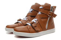 Wholesale Sneakers Belts - New Design Men's Women's Brown Genuine Leather with Belt Red Bottom High Top Sneakers,Couples Boots Brand Casual Sports Shoes 38-46