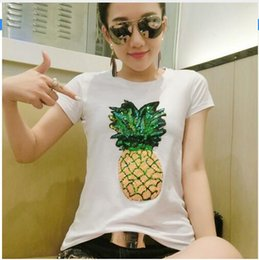 Wholesale Ladies Sequin Shirts - Fashion Summer Heavy Pineapple Sequins T Shirt Women Tops Short Sleeve Slim Female T-shirt European Plus Size 3XL Lady Tops