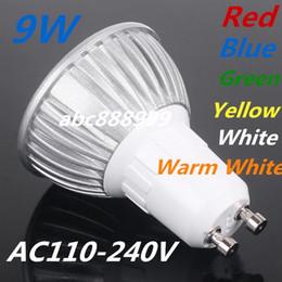 Wholesale Mr16 Led Blue 12v - Free shipping High power Led Lamp GU10 E27 B22 MR16 GU5.3 E14 9W 220V Led spot Light Spotlight led bulb downlight lighting