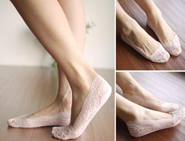 Wholesale Sexy Low Cut Socks - Sexy Womens low cut socks Fashion Lady Floral Lace Antiskid ankle slippers socks ballet socks Hosiery Various Colors
