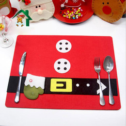Wholesale Red Kitchen Rugs - 45x34cm Christmas Party Placemat Merry Tableware Mat Table Eat Mats For Kitchen Decoration Party Decor Accessories Rugs Pads