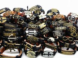 Canada En gros 30 pcs Mélanger différents styles hommes Punk rétro en alliage de cuivre en cuir Ethnique Tribes Bracelets de manchette Brand New Offre