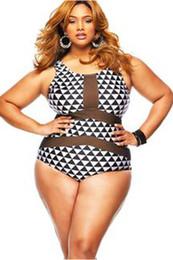 Wholesale Sexy One Piece Teddy - 2016 Sexy One Piece Swimsuit Women Swimwear Mesh Inserted Halter Cut out Backless Monokini Swimwear Bathing Suit Teddy swim suit 3XL 41429
