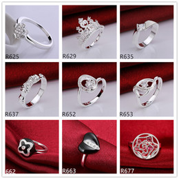 Wholesale Factory Stone - Hot sale high grade women's gemstone sterling silver ring 10 pieces mixed style,wholesale fashion 925 silver ring GTR22 factory direct sale
