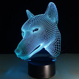 Wholesale Egg Head - 2016 Dog Head 3D Optical Illusion Lamp Night Light DC 5V USB Charging AA Battery Wholesale Dropshipping Free Shipping