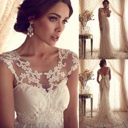 Wholesale Silk Chiffon Bridal Gown - Vintage Lace Bridal Dresses Mermaid Wedding Gowns Empire Cutsom Made 2015 Vestido de Casamento Trajes de Noiva
