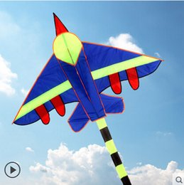 Wholesale Elf Comics - Free shipping high quality 3m long air plane kite flying toys nylon ripstop fighter kite with handle line wei kite elf aircraft