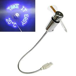 pales de ventilateur doux Promotion DHL gratuit de haute qualité En Gros Flexible Haut De Gamme Brevet Exclusif USB LED Flash Fan avec Température Temps Réel, Lames Douces, Metal HeadNeck