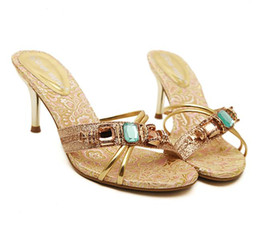 Wholesale Stoned Shoes - 2012-4 Party Evening Gold With Colorful Stones High heel Dress Shoes size 35 to size 40 UK7