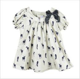 Wholesale Deer Pattern Dress - 2016 Summer Baby Girl Kids Short Sleeve Deer Fawn Pattern Shirt Shirts Tops Children Clothing Cute Girl Ribbon Bowknot T-shirt Dress