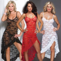 Wholesale plus size lingerie wholesalers - Wholesale- Hot! Plus Size M L XL XXL XXXL XXXXL 5XL 6XL women Sexy erotic lingerie Red Sleepwear nightgown pajamas sets long dressing Gown
