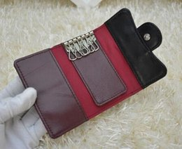 Wholesale National Pvc - 31503 Women Genuine Leather Lambskin Leather key Holder Small Purse For Key Wallets Card & ID Holders Key Wallets Black caviar