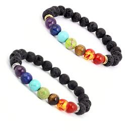 Wholesale Religious Stainless Steel Jewelry - 7 Chakra Lava Stone Diffuser Bracelet Meditation Charm Jewelry Genuine Aromatherapy Stones Natural Essential Charm Bracelets B124S