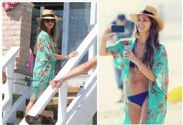 Wholesale Green Fringe Bikini - 2016 New Cover Up for Bikini Swimwear Chiffon Fringe Green Print Beach Dresses Fashion Beachwear Beach Clothes