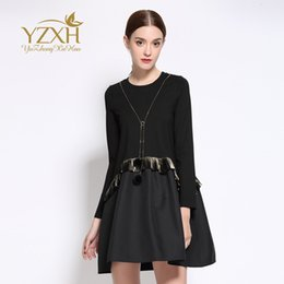 Wholesale Plus Size European Winter Dresses - European station 2016 autumn and winter new women dress round collar long sleeved tassel name brand large size women dress