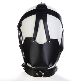 Wholesale Leather Bite Gag - Adult Studded Genuine leather or Faux leather Head Harness Muzzle Gag with Neck Strap Sex Bondage Fetish Restraint Face Mask Punk Hoods