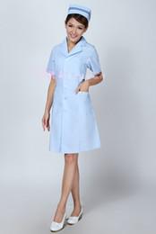 Wholesale Short Females - The nurse take short sleeve summer white blue Beauty salon work clothes Female nurses white pharmacy service