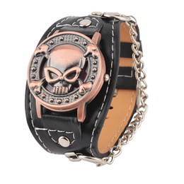 Wholesale Watch Woman Leather Skull - Wholesale-skull cover quartz Watch men women fashion leather wrist watch Leather Bracelet Watch Men's Biker Metal Newest Quality