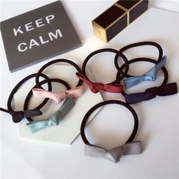 Wholesale Hair Tie Korea - New Korea hair accessories single color tie bow hair rubber band rope hair ring Free shipping
