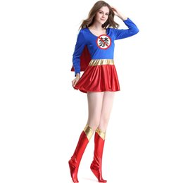 Wholesale Christmas Female Fancy Dress - Adult Supergirl Costume Cosplay 2017 Super Woman Superhero Sexy Fancy Dress with Boots Girls Superman Halloween Costumes Clothin