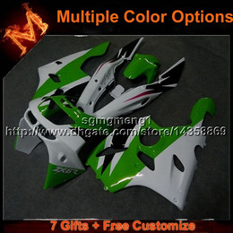Wholesale Kawasaki Zx6r 97 Green Fairings - 23colors+8Gifts GREEN WHITE motorcycle cowl For Kawasaki ZX-6R 1994-1997 ZX-6R 94 95 96 97 ABS Plastic Fairing