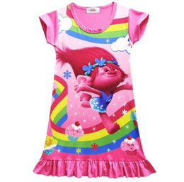 Wholesale Cartoon Character Costume Princess - Cartoon Trolls Children Girls Dress 2017 Magic Summer Clothes Kids Pajamas Costume Princess Nightgown Vestidos Infantis Sundress
