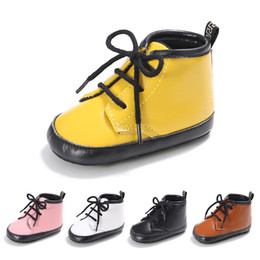 Wholesale Pu Sole Wholesale - Wholesale- 2017 New Solid Color Baby Fashion Martin Boots Soft Sole Indoor Infant Prewalkers Baby Shoes