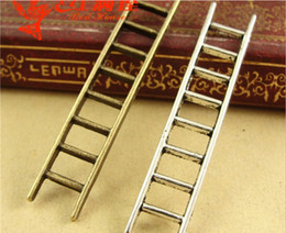 Wholesale Jewelry Wholesale Process - A4093 10*51MM Antique bronze plated Alloy jewelry processing ladder charms accessories, tibetan silver-plated dangle charms pendants