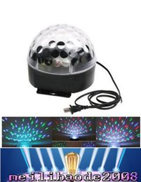 Wholesale Magic Ball Dmx - Mini Voice-activated Disco DJ Stage Lighting LED RGB Crystal Magic Ball 6CH DMX 512 light 20W KTV Party free shipping MYY