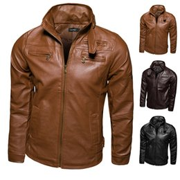 Wholesale mens short coat khaki - Wholesale- men fashion winter long sleeve black khaki motorcycle leather jacket mens coats windproof,waterproof Leather clothing free ship