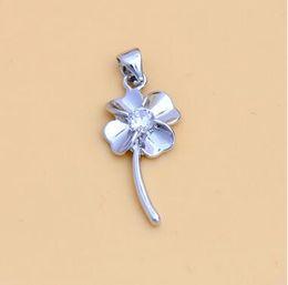 colgante de plata swarovski Rebajas Lucky Silver Colover Necklace Blanco Púrpura Swarovski Leaf Necklace Silver Necklace Chain Lucky Flower Charm Pendant SIN CADENA