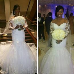 2019 vestido muçulmano fishtail Mangas compridas Rendas Mais Sereia Plus Size Vestidos de Casamento Fora Do Ombro Sexy Afric Vestidos De Noiva 2016 Vestidos De Casamento Da Mola