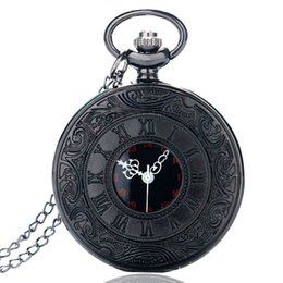 Wholesale antique watches - Wholesales Vintage Charm Black Unisex Fashion Roman Number Quartz Steampunk Pocket Watch Women Man Necklace Pendant with Chain Gifts