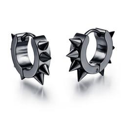 Wholesale Earing Steel - New Arrival Personality Men Jewelry Rivet Earrings Punk Rock Style 316L Stainless Steel Hoop Earing Hot Sale SE022