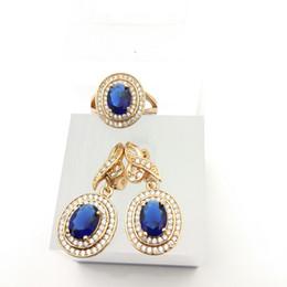 Wholesale Dark Opal Ring - Blue Topaz deep blue Zircon Jewelry Sets 925 Silver Earrings Rings Size 7 8 9 For Women Free Jewelry Box B