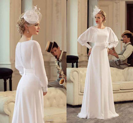 Wholesale Mother Groom Outfits - Elegant Chiffon A Line Mother Dresses With Long Sleeves Jewel Neck Bridal Mother Groom Wedding Party Dress Cheap Outfit