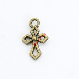 Wholesale Wholesale Craft Cross Charms - Antique Bronze Plated Hollow Cross Charms Pendants for Necklace Bracelets Jewelry Making DIY Craft Handmade 10x17mm